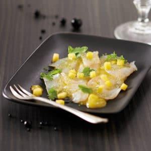 Carpaccio de cabillaud à la mangue et huile d'olive