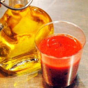Gaspacho fraises menthe à l'huile d'olive