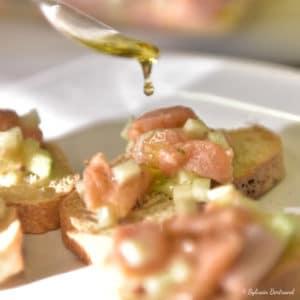 bouchée truite saumonée à l'huile d'olive