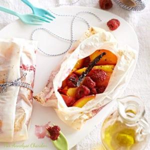 Recette de papillote de druits d'été à l'huile d'olive goût intense par Annelyse Chardon