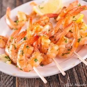 crevettes marinées plancha