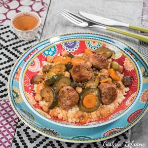Couscous aux légumes et boulettes à l'huile d'olive