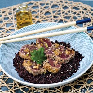 Recette de tataki de thon au riz noir