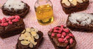 Brownies noix, huile d'olive et déclinaisons coco, amandes, pralines roses