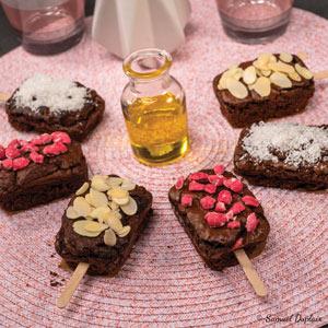 Brownies aux noix, huile d'olive et ses déclinaisons noix de coco, amandes, pralines roses
