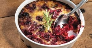 Dessert : gratin cerises-romarin-huile d'olive