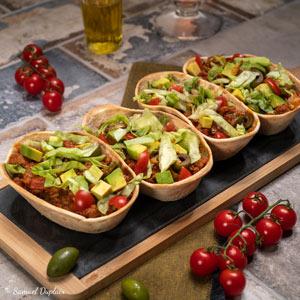 Tacos au boeuf, olives et avocat