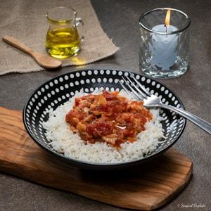 Rougail de cabillaud, huile d'olive goût subtil