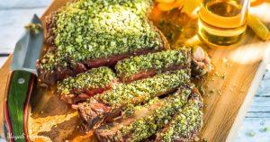 Recette côte de bœuf en croûte d'herbes huile d'olive goût intense barbecue
