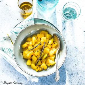 Recette mangue rôtie beurre de gingembre sirop de poivre timut - huile d'olive goût subtil dessert barbecue