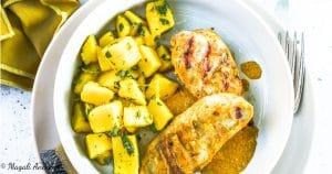 Recette poulet tandoori salade mangue huile d'olive goût subtil barbecue