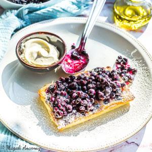 Recette tarte gaufres myrtilles huile d'olive goût intense dessert dejeuner
