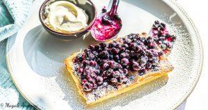 Recette tarte gaufres myrtilles huile d'olive goût intense dessert dejeuner facebook