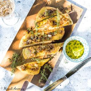 recette focaccia anchois oignons thym tarte huile olive gout intense pique nique dejeuner