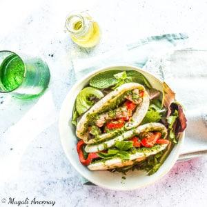 Recette pain pita agnneau sauce menthe citron barbecue huile d'olive goût intense