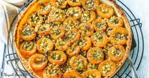 recette tarte à l'abricot, fruits secs et romarin - huile d'olive goût subtil - dessert pique-nique déjeuner