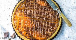 Recette tarte chocolat caramel huile d'olive goût à l'ancienne et goût subtil dessert pique-nique déjeuner