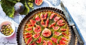 Recette tarte figue pistache huile d'olive goût subtil dessert pique-nique déjeuner