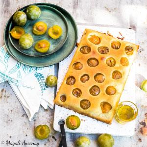 Recette tarte financière prunes mirabelles huile d'olive goût subtil dessert pique-nique déjeuner