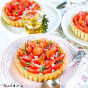 Recette tartelette aux fraises crème huile d'olive goût intense dessert pique-nique