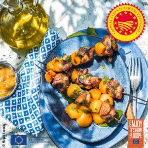 Brochettes d'agneau melon à l'huile d'olive