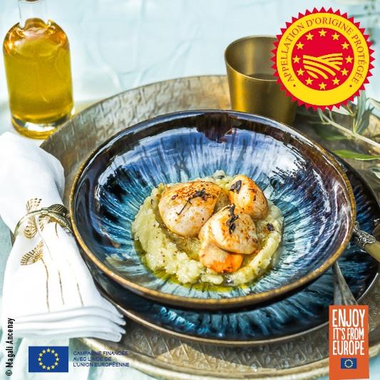 St Jacques et purée de panais truffés à l'huile d'olive