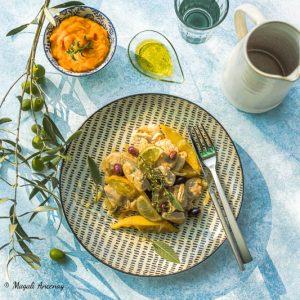 Dinde aux citrons, olives et huile d'olive