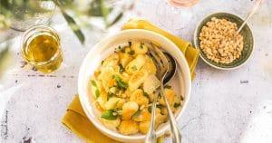 Gnocchis basilic parmesan pignons