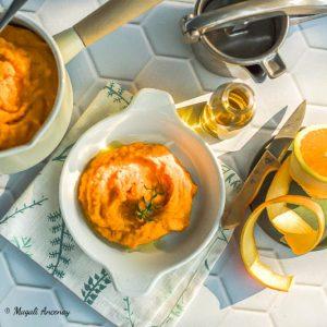 Purée de carottes, huile d'olive et orange