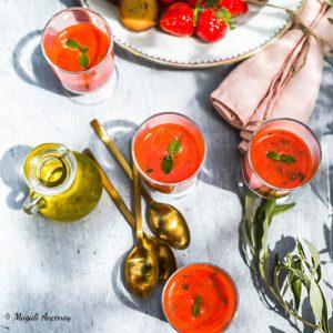 Soupe de fraises à l'huile d'olive goût intense