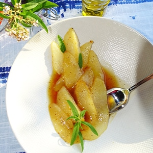 poires roties à l'huile d'olive